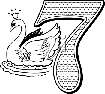 Royalty Free Clipart Image of One of Seven Swans Swimming