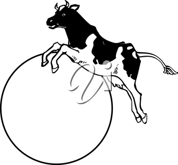 Royalty Free Clipart Image of a Cow Jumping Over the Moon