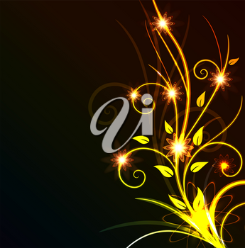 Royalty Free Clipart Image of a Leafy Flourish on Black
