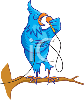 Royalty Free Clipart Image of a Singing Bird With a Microphone