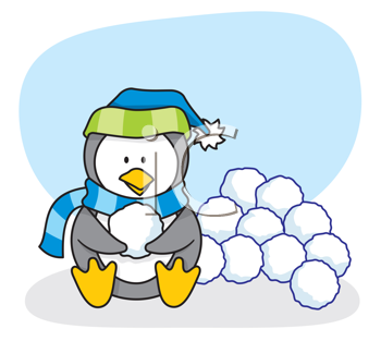 Royalty Free Clipart Image of a Penguin With Snowballs
