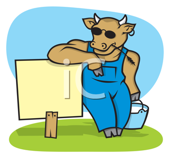 Royalty Free Clipart Image of a Cow With Milk at a Sign