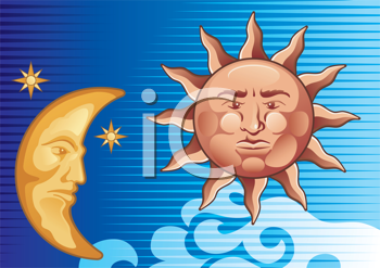 Royalty Free Clipart Image of a Decorative Sun and Moon