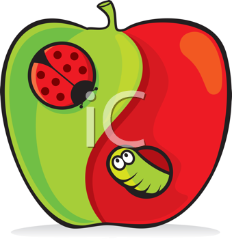 Royalty Free Clipart Image of a Yin Yang Apple With a Ladybug and Worm