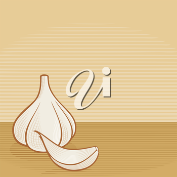 Royalty Free Clipart Image of a Garlic Bulb and Clove