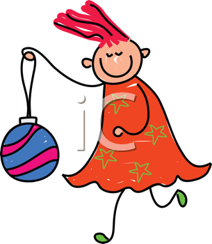 Royalty Free Clipart Image of a Girl With a Christmas Ornament