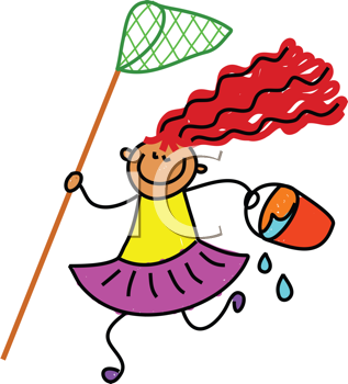 Royalty Free Clipart Image of a Girl With a Net and Water