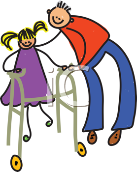 Royalty Free Clipart Image of a Person Helping a Girl Walk