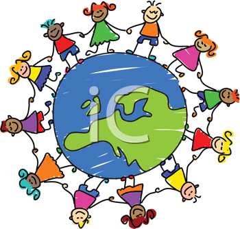 Royalty Free Clipart Image of Children Around a Globe Showing Europe