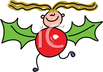 Royalty Free Clipart Image of a Little Girl in a Holly Berry Costume
