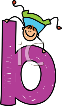 Royalty Free Clipart Image of a Boy With a B