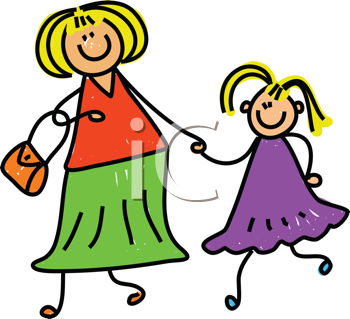 Royalty Free Clipart Image of a Mother and Daughter