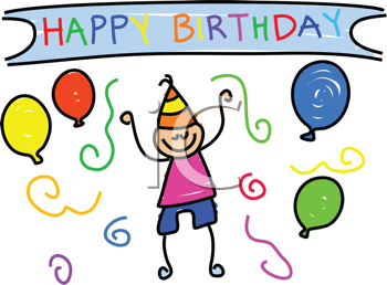 Royalty Free Clipart Image of a Boy in a Party Hat Under the Words Happy Birthday
