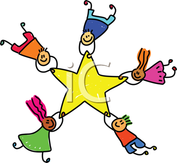 Royalty Free Clipart Image of Children Hanging on a Star