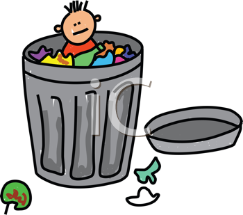 Royalty Free Clipart Image of a Child in a Trash Can