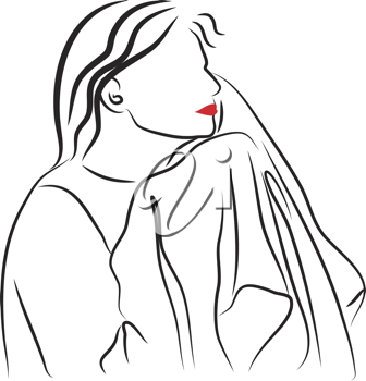 Royalty Free Clipart Image of a Woman Drying Her Face