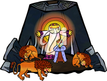 Cartoon illustration of Daniel in the lions den, being delivered by an angel from the mouths of the beasts.