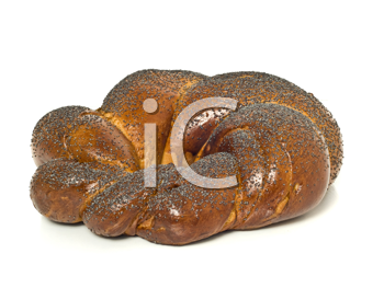 Bagel with poppy seeds isolated over white
