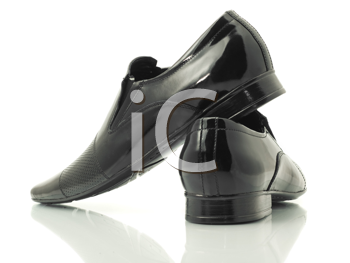 Side and back view of Men's patent-leather shoes isolated over white background