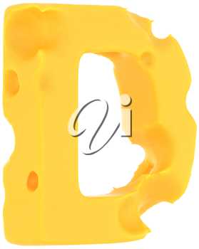 Cheeze font D letter isolated over white background