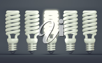 Idea or invention: illuminated efficient bulb among group of off ones. Large resolution