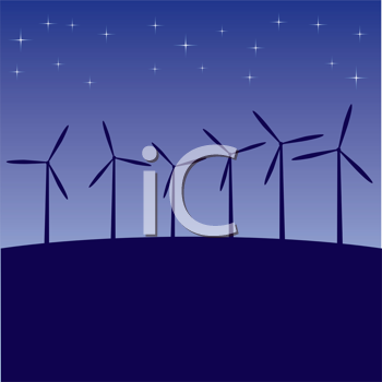 Royalty Free Clipart Image of Windmills at Night