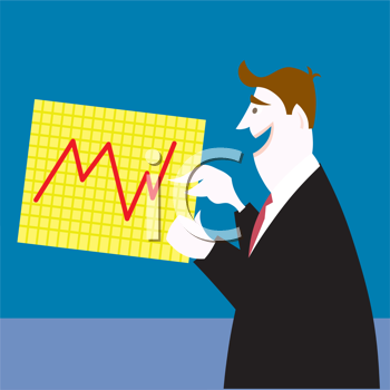 Royalty Free Clipart Image of a Man Showing a Graph