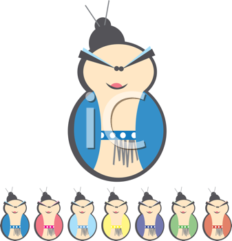 Royalty Free Clipart Image of a Set of Women