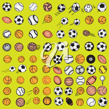 Royalty Free Clipart Image of a Sports Ball Background