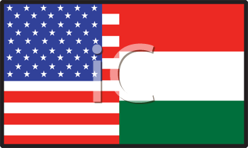 Royalty Free Clipart Image of a Half American, Half Hungary Flag