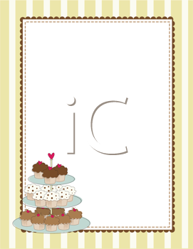 Royalty Free Clipart Image of a Striped Border With a Tiered Tray of Cupcakes