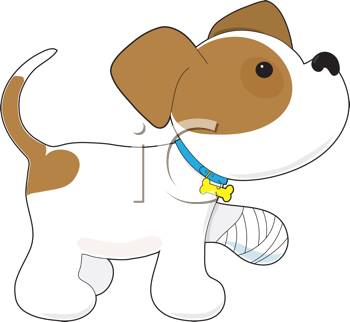Royalty Free Clipart Image of a Dog With a Sore Leg