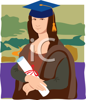 Royalty Free Clipart Image of Mona Lisa as a Graduate