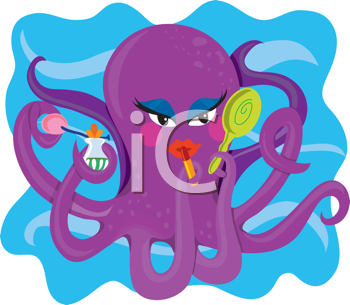 Royalty Free Clipart Image of a Multitasking Octopus