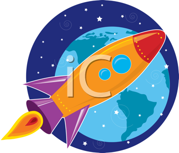 Royalty Free Clipart Image of a Rocket Flying Through Space