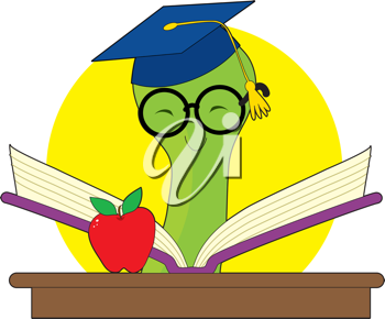 Green bookworm with a mortar cap reading a book on a desk with an apple.