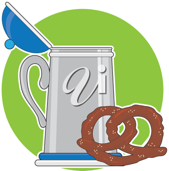 A beer stein and a salted pretzel, sitting on a green background.