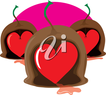 Three stylized marachino cherry chocolates with stems, have been cut open to reveal Valentine, heart shaped, cherry centres.
