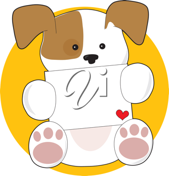 A cute brown and white puppy, on a circular yellow background, is holding a letter with a small heart in the corner.