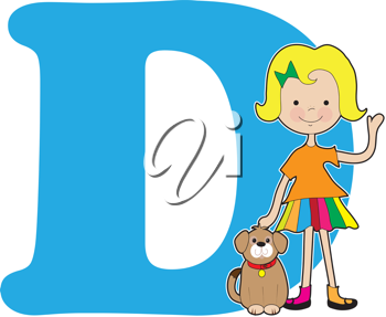 A young girl holding a dog to stand for the letter D