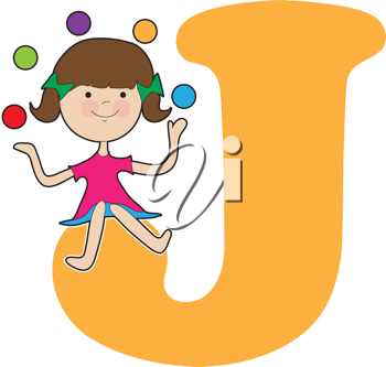A young girl juggling balls to stand for the letter J