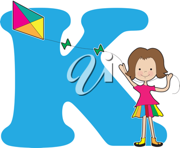 A young girl flying a kite to stand for the letter K