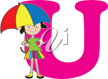 A young girl holding an umbrella to stand for the letter U