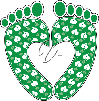 A pair of green footprints with a leafy pattern making the shape of a heart