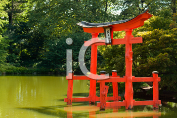 Royalty Free Photo of a Japanese Garden and Pond