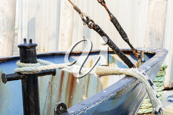 Detail of commercial fishing boat equipment at the dock.