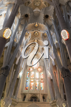 Barcelona, Spain - November 9, 2015: La Sagrada Familia is a UNESCO World Heritage Site, drawing an estimated 2.5 million visitors annually.