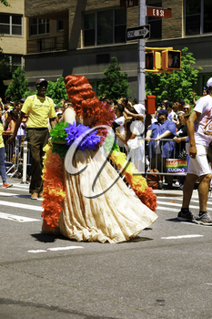 New York City, USA-June 25, 2017: LGBTQ participants of the NYC Pride March. Gay Pride events occur throughout the month of June, culminating with the March along the 5th Avenue.