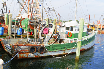 Galilee, Rhode Island, USA-May 11,2017: Galilee is a home to the largest fishing fleet in Rhode Island.