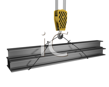 Royalty Free Clipart Image of a Crane Hook Lifting Girders